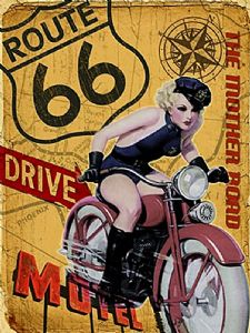 Route 66 Mother Road Girl On Bike large Steel Sign    400mm x 300mm (og)